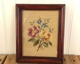Vintage Framed Floral Needle Point