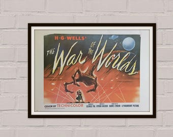 War Of The Worlds - H G Wells -  Movie Poster  Vintage Movie Poster - Vintage Book Print - Antique Movie Poster - Man Cave - Sci-Fi
