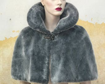 Faux fur fake fur cape capelette, semi fitted, slightly flared, white, mink, silver grey, black, skull clasp, clasp options