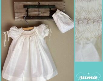 Ivory Christening Dress with Bonnet Shantung Fabric, Baptism Dress, Ivory Baby Dress, Girl Blessing Dress, Dedication Dress, Baby Gown