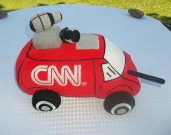 CNN Fake News Van Stuffed Toy, Stuffy, Stuffie, Jaag, Red and White, Donald Trump, Fox News related, Stuffed Animal, Republican, Alex Jones
