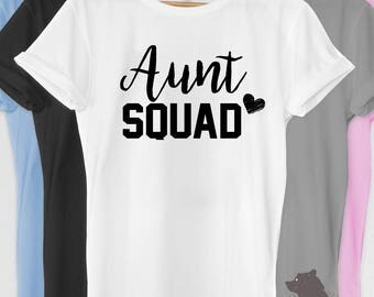 Aunt Squad Shirt Tshirt V-neck Tank T-shirt Tee Pregnancy Announcement Grandparents Reveal est. 2017 Baby Shower Auntie to Be Gift idea