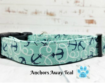 Teal Nautical Dog Collar, Anchors Dog Collar, Cute Girl Dog Collar, Adjustable Dog Collar, Anchors Away Teal Dog Collar, Pet Collar