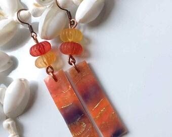 Earrings, rectangular, mandarins, purple, polymer clay