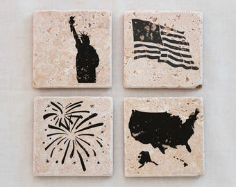 Patriotic Drink Coasters, 4th of July Coaster Set, Independence Day Coasters - 4 Natural Stone Coasters, Celebration, 4th of July Decoration