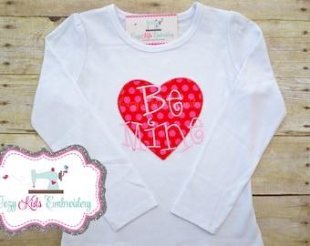 Valentine's Day Children's Shirt, Embroidered Valentine's Day Shirt, Valentine's Applique Shirt, Girl's Valentine Shirt