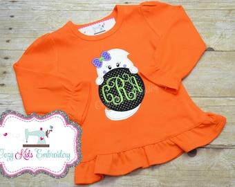 Girls Halloween Shirt, Ghost Shirt, Halloween Shirt, Ghost Applique, Ghost Embroidery, Halloween Applique Shirt, Halloween Embroidery Shirt