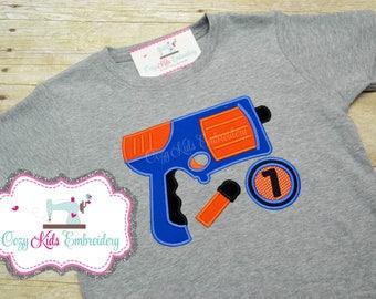 Foam Dart Gun Birthday Shirt, Birthday shirt, Boys Birthday Shirt, Dart Gun Birthday Shirt, Foam Dart Gun Birthday Party, Applique