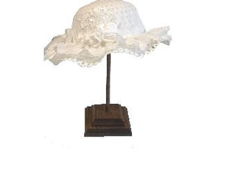 Victorian Style Flower Girl Church Wedding Straw Hat with Satin Ribbons & Roses