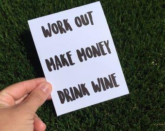 Wine Card - Funny Wine Card - Girlboss card - Drink Wine Card - Funny Friendship Card