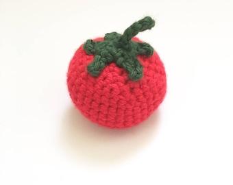 Crochet Pretend Tomato | Crochet Fake Food Kitchen Toy | Knit Tomato Rattle