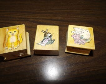 Cat Stamps, Rubber Stamp, Bunny Stamp, Dove Stamp, Craft Stamp, Gift For Her, Mounted Stamps, Animal Stamps, Stamp set, Gift, Greeting Cards