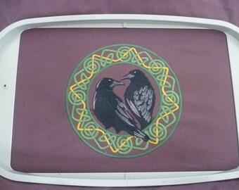 Viking Ravens Cushion Pillow Hugin & Munin. Cushion Cover Decorative pillow. Odin's mesengers Embroidered. Norse god. Knotwork Heathen Pagan