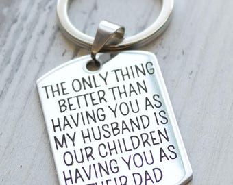 Husband and Father Personalized Dog Tag Key Chain - Engraved