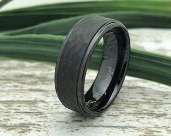 8mm Black Hammered Tungsten Ring, Engraved Date Ring, Couples Names Ring, Roman Numeral Ring, Coordinates Ring, Couple Promise Ring