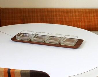 Scandinavian Plexiglas DIGSMED Denmark, solid teak tray, 4 cups, glass, serving brunch, mid century modernism circa 1960