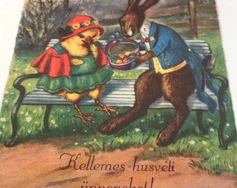 Antique Vintage Easter Post Card, Chick and Rabbit, Hungarian, Ephemera, Early 1900s
