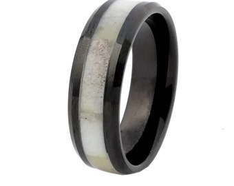 Black Tungsten with Antler Inlay Antler Ring  Size 10  Free Shipping