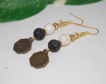 Tai Chi Earrings,Yin Yang Earrings,Woman,Girl,Chic,Gemstone Beaded Earrings,Drop Earrings,Dangle Earings,Boho Jewelry,Gift For Her