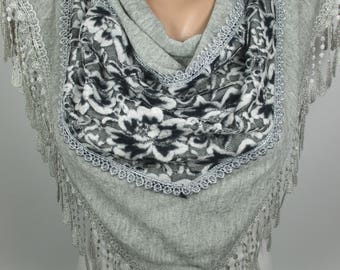 Gray Lace velvet ScarfWedding Scarf Bridal Accessories Bridesmaids Gift Women Fashion Accessories Gift Ideas For Her Christmas Gifts