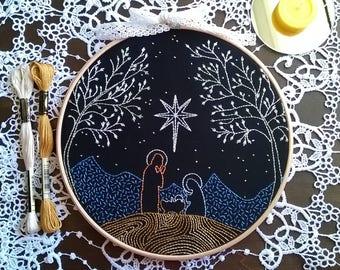 Embroidery kit  - embroidery hoop art - Nativity - Hand Embroidery - traditional embroidery kit. - embroidery kit beginner