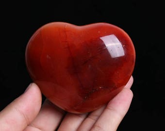 Natural Carnelian Polished Red Agate Crystal Heart Healing J523
