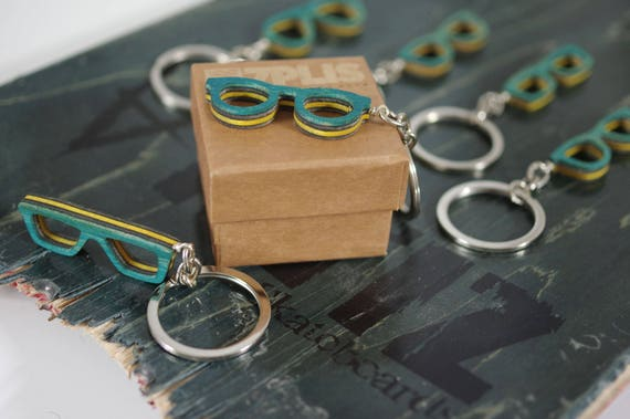 Recycled 7PLIS keyring from used skateboard - Wooden blue black and yellow