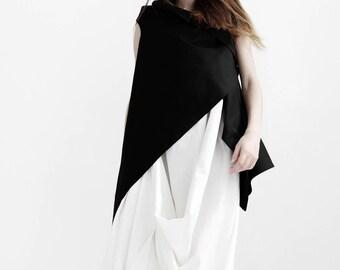 Black asymmetrical vest/ avant garde sleeveless jacket