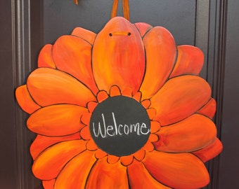 Gerber Daisy/Orange Red Door Hanger with Chalkboard