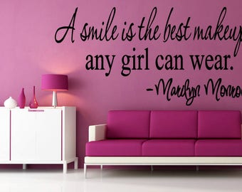Wall Sticker Decal Marilyn Monroe Quote Beauty Makeup Smile Fashion  1662b