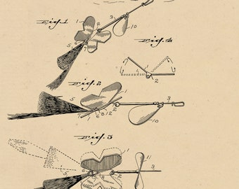 Fishing Lure Patent #1,738,617 dated December 10, 1929. Fly lure Patent decor. Available in several sizes and backgrounds.