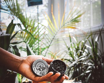 Laser engraved herb grinder | Mountain Mandala grinder by Topboro