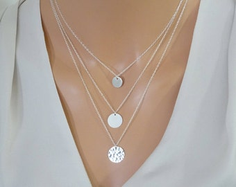 Layering necklace set of   3 disc necklaces, Personalized circle necklace, Custom necklace, Sterling silver, Gold fill