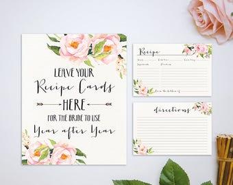 Recipe Card, Pink floral Bridal Shower Recipe Card Printable, Printable Recipe Card, DIY Recipe Card, Floral Recipe Card, Instant Download
