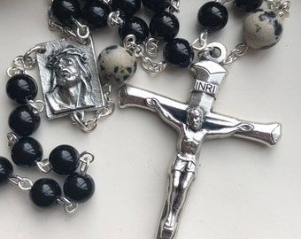 Handmade Catholic Rosary, Crucifix of Nails, Ecco Homo, Black Jasper, Dalmatian Jasper, Lent, Repentance, Good Friday, Easter, Free Ship USA