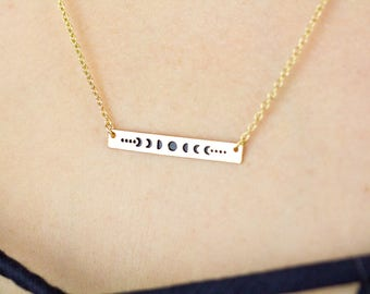 Moon Phases Necklace, Moon Phase Necklace, Moon Phase Jewelry, Moon Cycle Necklace, Moon Phase Pendant, Gold Bar Necklace, Moon Bar Necklace
