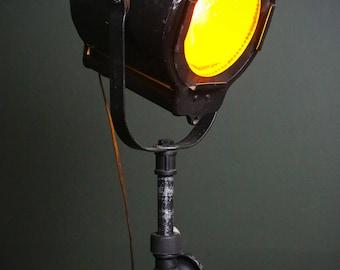 Vintage Kliegl Bros. New York Stage Theatre Spot Light Orange Glow Industrial Cast Iron Base with Adjustable Stand Antique Lamp Steampunk