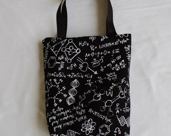 Science Fabric Gift Bag- Chemistry Notes on Black