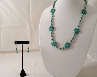Blue Green Earth Stone Jewelry Set - Blue Stone Necklace - Green Stone Necklace- Blue Necklace - Green Necklace- Stone Necklace- Blue- Green