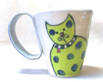 Whimsical Cat Mug, ceramic hand painted mug coffee cup gift for cat lover gift for coffee lover 7 oz ounces handmade dishwasher safe  tea
