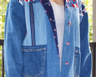 Vintage, American Flag, Patriotic Denim Jacket