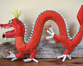 Vintage Handcrafted Asian Dragon Stuffed Home Decor Bright Red New Year Dragon Year of the Dragon
