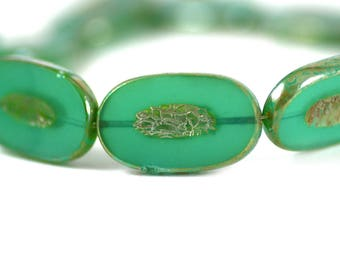 Czech Glass Carved Large Ovals Jadeite Opal Jade Green Picasso Finish Two (2) Pieces 26x15mm