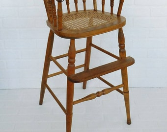 Antique Wood Cane Seat High Chair, Childu0027s Chair, Farmhouse Kitchen, Cane  Seat