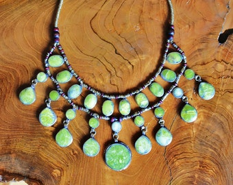 Green Jade Cassidy Bib Necklace - Statement Necklace - Unique Necklace - Ethnic - Kuchi Afghan Tribal - Hippie - Bohemian - Gypsy