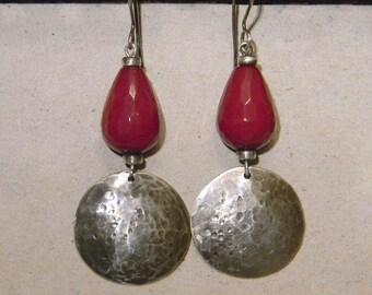 Hammered Sterling Silver Earrings, Red Jade Earrings, Hand forged Earrings, Faceted Gemstone Earrings, Rustic Earrings, Womens Jewelry, Boho