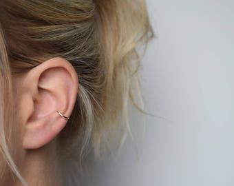 Ear Cuff - Silver Ear Cuff - Ear Wrap - Hammered Ear Cuff - Conch Cuff - Adjustable Ear Cuff - Fake Conch Ring - Delicate Ear Cuff