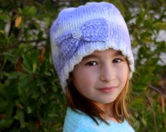 GIRLS Knit Hat, Gray and White sparkle BEANIE hat, Large Bow Beanie Hat, Ladies Beanie hat, Womens WARM Beanie Hat