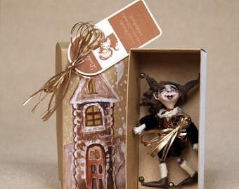 Small art doll little fairy dwarf, Christmas gift polymer clay art doll brooch forest dwarf 4.36 inch
