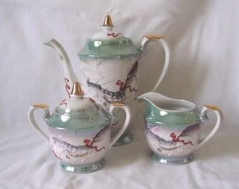 Japanese Porcelain Dragon Tea Set - Teapot, Milk, Sugar Bowl - Moriage Dragon Tea Set